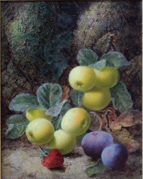 Still Life of Apples, Plums and Stawberry