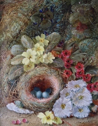 Birds Nest and Flowers on a Mossy Bank