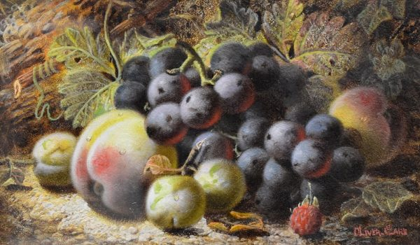 Still Life of Peach and Grapes